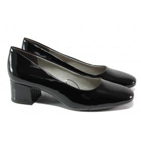 Дамски обувки на среден ток - еко кожа-лак - черни - EO-13494