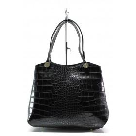 Елегантна дамска чанта - естествена кожа - черни - EO-13623