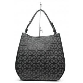 Дамска чанта - еко-кожа с текстил - черни - EO-13630