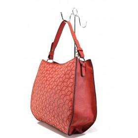 Дамска чанта - еко-кожа с текстил - червени - EO-13631