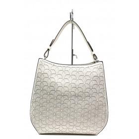 Дамска чанта - еко-кожа с текстил - бели - EO-13632