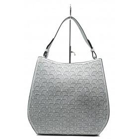 Дамска чанта - еко-кожа с текстил - светлосин - EO-13633