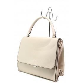 Дамска чанта - висококачествена еко-кожа - бежови - EO-13635