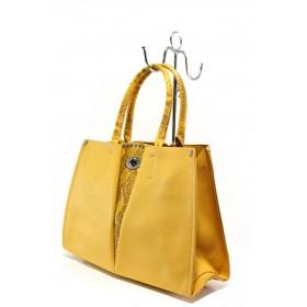 Елегантна дамска чанта - висококачествена еко-кожа - жълти - EO-13625