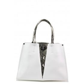 Елегантна дамска чанта - висококачествена еко-кожа - бели - EO-13626