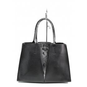 Елегантна дамска чанта - висококачествена еко-кожа - черни - EO-13624