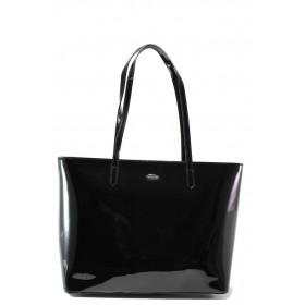 Елегантна дамска чанта - еко кожа-лак - черни - EO-13621