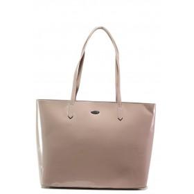 Елегантна дамска чанта - еко кожа-лак - розови - EO-13622