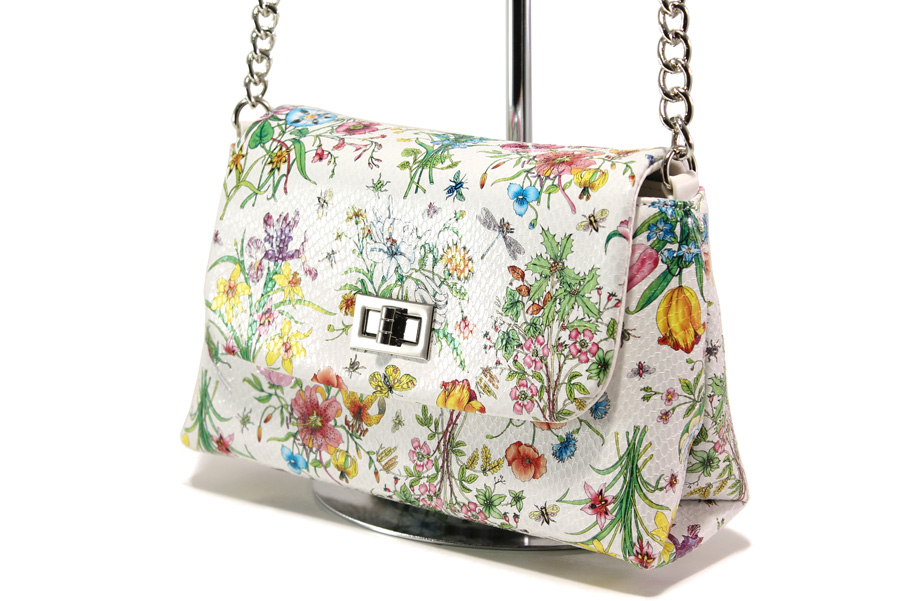 Дамска чанта - висококачествена еко-кожа - бели - EO-13607