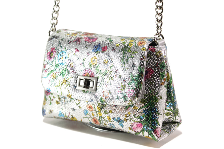 Дамска чанта - висококачествена еко-кожа - сребро - EO-13608
