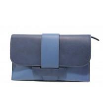 Елегантна дамска чанта - висококачествена еко-кожа - сини - EO-13613