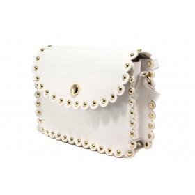 Дамска чанта - висококачествена еко-кожа - бели - EO-13612