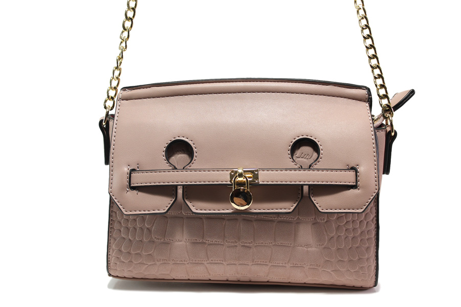 Дамска чанта - висококачествена еко-кожа - розови - EO-13606
