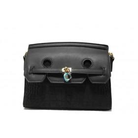 Дамска чанта - висококачествена еко-кожа - черни - EO-13603