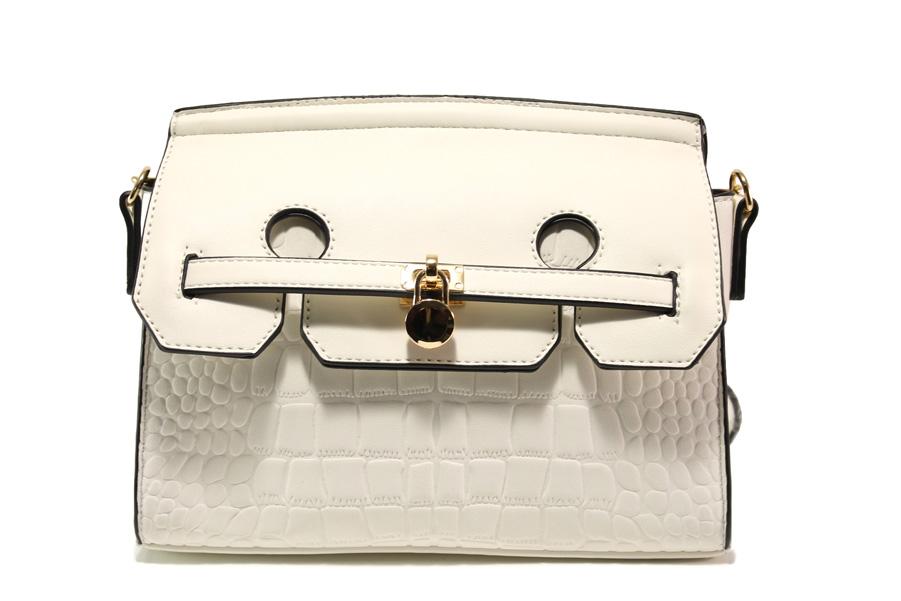 Дамска чанта - висококачествена еко-кожа - бели - EO-13605