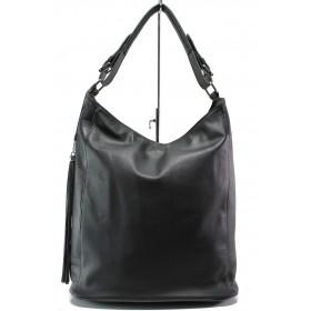 Дамска чанта - естествена кожа - черни - EO-14044