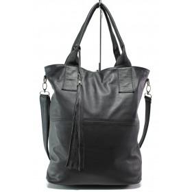 Дамска чанта - естествена кожа - черни - EO-14043