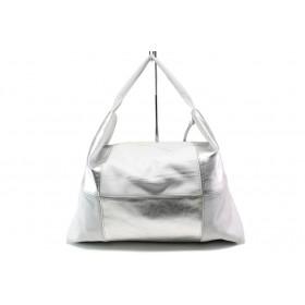 Дамска чанта - естествена кожа - сребро - EO-14077