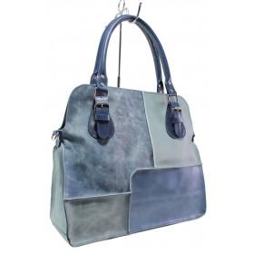 Дамска чанта - естествена кожа - сини - EO-14149