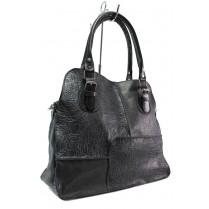 Дамска чанта - естествена кожа - черни - EO-14151