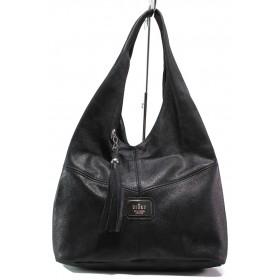 Дамска чанта - естествена кожа - черни - EO-14420