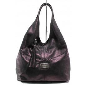 Дамска чанта - естествена кожа - бордо - EO-14423