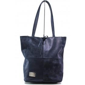 Дамска чанта - естествена кожа - тъмносин - EO-14432
