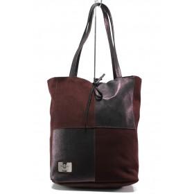 Дамска чанта - естествена кожа - бордо - EO-14433