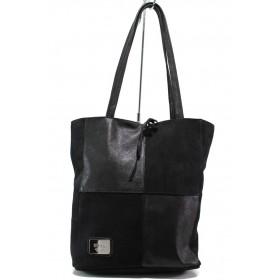 Дамска чанта - естествена кожа - черни - EO-14434