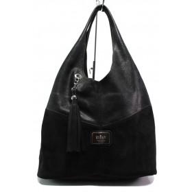 Дамска чанта - естествена кожа с естествен велур - черни - EO-14534