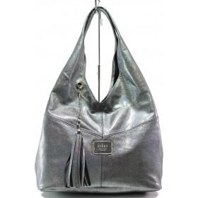 Дамска чанта - естествена кожа - сребро - EO-14552