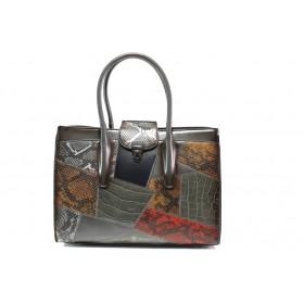 Дамска чанта - висококачествена еко-кожа - сиви - EO-14612