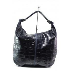 Дамска чанта - естествена кожа - тъмносин - EO-14628