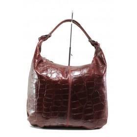 Дамска чанта - естествена кожа - бордо - EO-14630