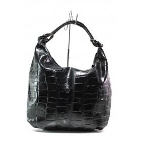 Дамска чанта - естествена кожа - черни - EO-14629