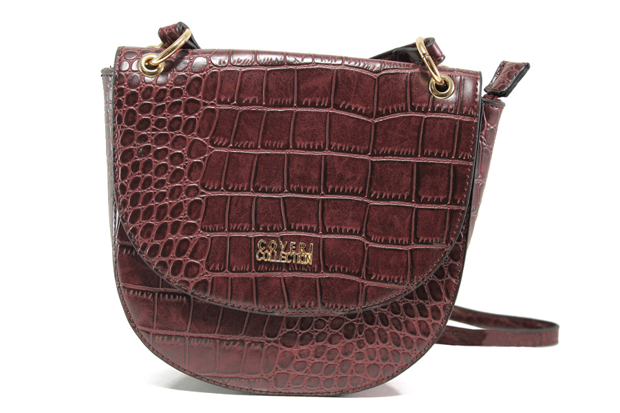 Дамска чанта - висококачествена еко-кожа - бордо - EO-14622