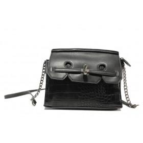Дамска чанта - висококачествена еко-кожа - черни - EO-14624
