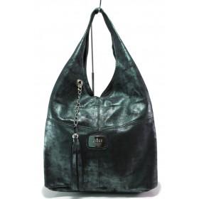 Дамска чанта - естествена кожа - зелени - EO-14840