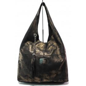 Дамска чанта - естествена кожа - кафяви - EO-14839