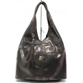 Дамска чанта - естествена кожа - кафяви - EO-14856