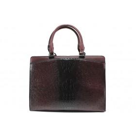 """Дамска чанта - еко-кожа с """"кроко"""" мотив - бордо - EO-14901"""