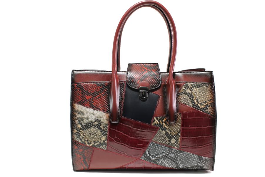 """Дамска чанта - еко-кожа с """"кроко"""" мотив - бордо - EO-14910"""