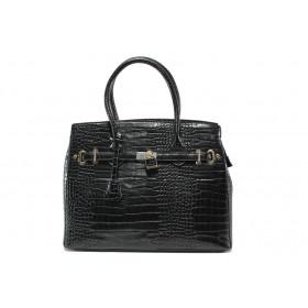 """Дамска чанта - еко-кожа с """"кроко"""" мотив - черни - EO-14912"""