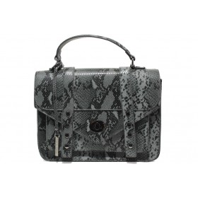 """Дамска чанта - еко-кожа с """"кроко"""" мотив - сиви - EO-14902"""