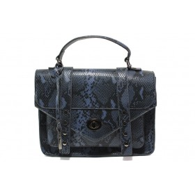 """Дамска чанта - еко-кожа с """"кроко"""" мотив - тъмносин - EO-14903"""