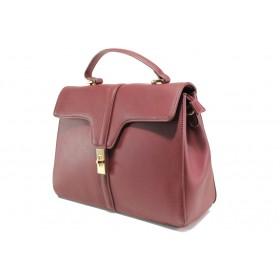 Дамска чанта - висококачествена еко-кожа - бордо - EO-14906