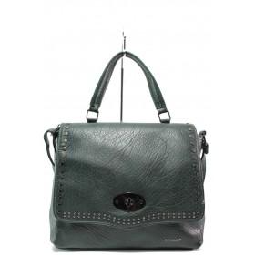 Дамска чанта - висококачествена еко-кожа - зелени - EO-14918