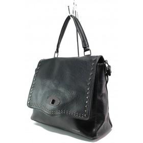 Дамска чанта - висококачествена еко-кожа - черни - EO-14916