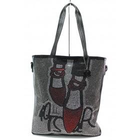 Дамска чанта - висококачествена еко-кожа - черни - EO-14920