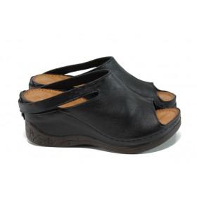 Дамски чехли - естествена кожа - черни - EO-14081